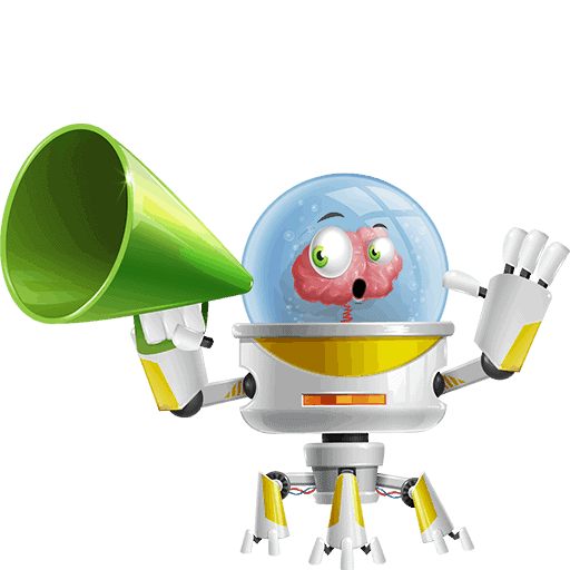 Os, the captain of HE Group, while holding a loudspeaker in its hand. This is its 18th Pose for HE Group Website, and you can find more info for Os itself in the team section.