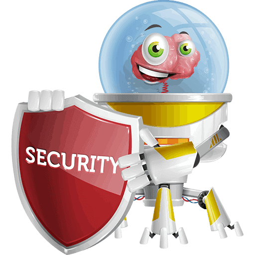 """Os, the captain of HE Group, while holding a shield with """"Security"""" on It for the Policy Page. This is its 20th Pose for HE Group Website, and you can find more info for Os itself in the team section."""