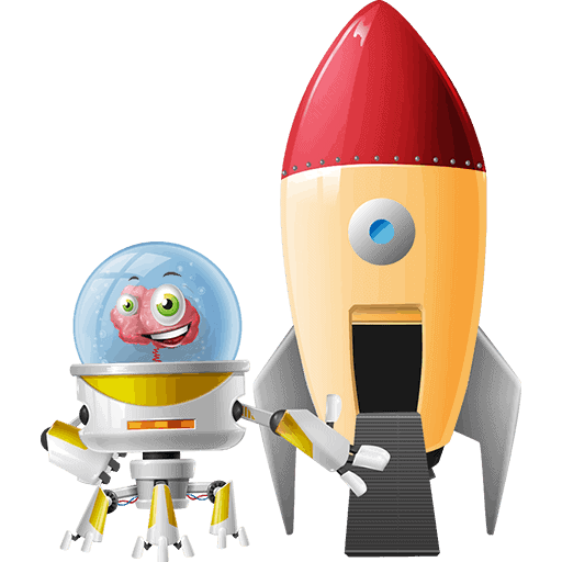 Os, the captain of HE Group, with a rocket next to it. This is its 6th Pose for HE Group Website, and you can find more info for Os itself in the team section.